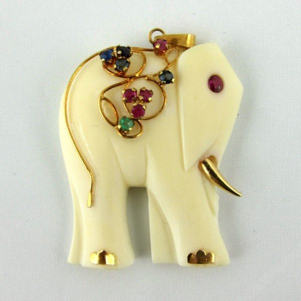 226: Carved Ivory and 14KT Gold Elephant Pendant