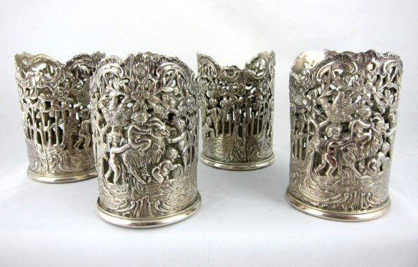 10: Vintage Repousee Silver Cup Holders