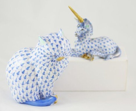 22: Herend Porcelain Cat & Unicorn