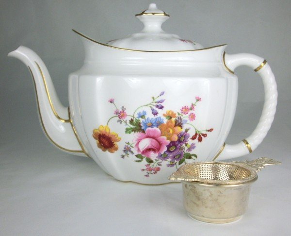 3: Royal Crown Derby Teapot & Sterling Strainer
