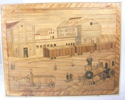16A: Two Rare American Folk Art Straw Pictures