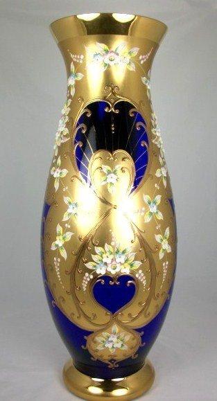 19: Cobalt Bohemian Glass Vase