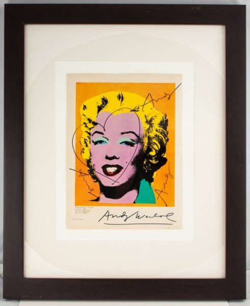 "51: Andy Warhol Drawing, ""Heart Over Marilyn Monroe"""