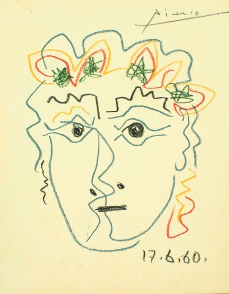 37: Pablo Picasso, Colored Pencil Drawing, 1960