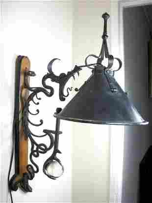 17: Dragon Motif Vintage Wall Lantern