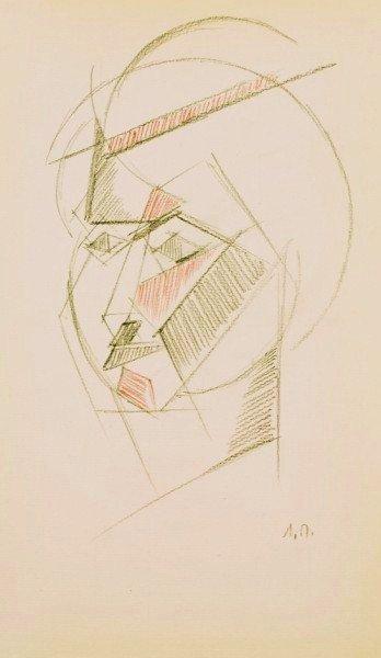 19: Russian Cubist Drawing, Circa 1910-1920