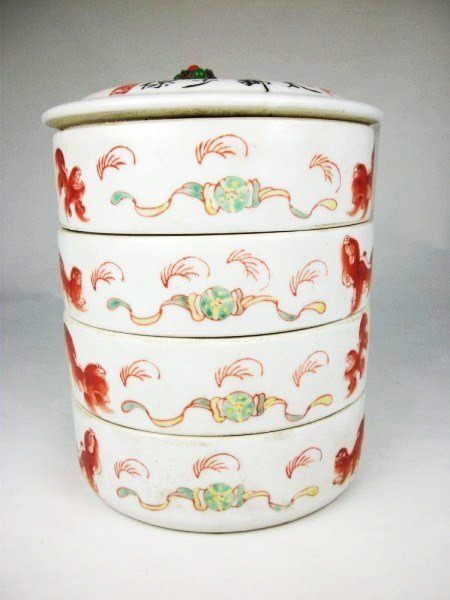 23: Chinese Stacking Porcelain Food Cannisters