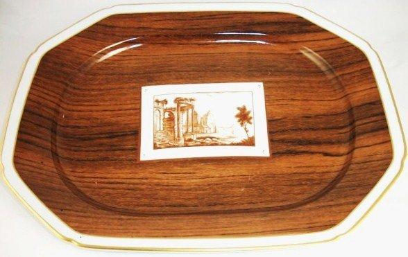 14: Faux Bois Platter, Vista Allegre Porcelain