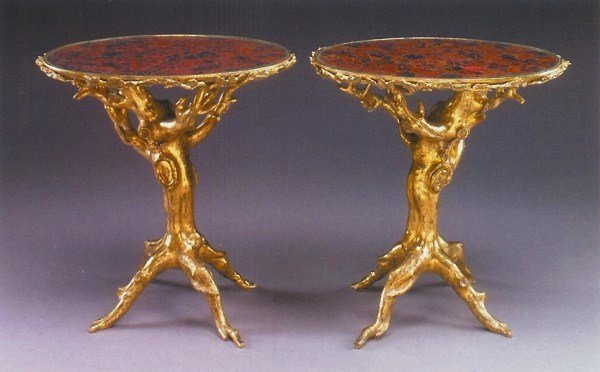 249: Very Rare Pair Of Giltwood Side Tables, 18th C.