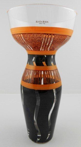 Kosta Boda Handpainted Glass Vase