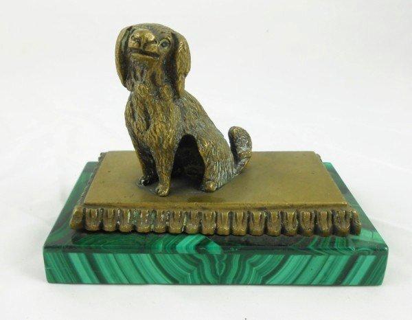 Bronze Dog On Malachite Base, Circa 1900