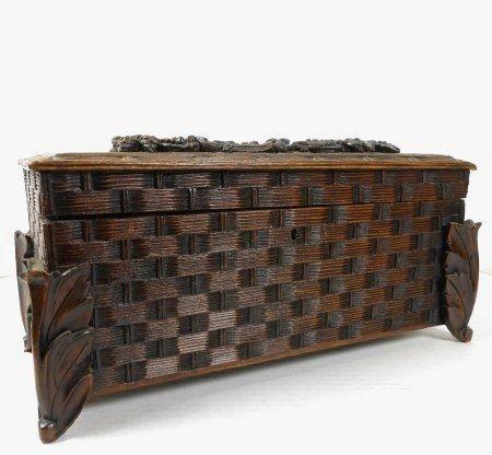 """Black Forest """"Basket Weave"""" Carved Tea Caddy"""