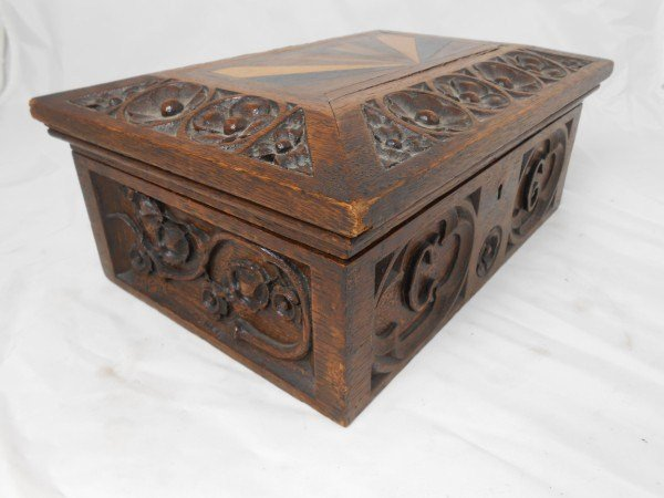 French Carved Wood Money Box, Circa 1880-1900