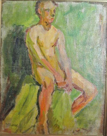 Oil Painting, Male Nude By N. E. Lange