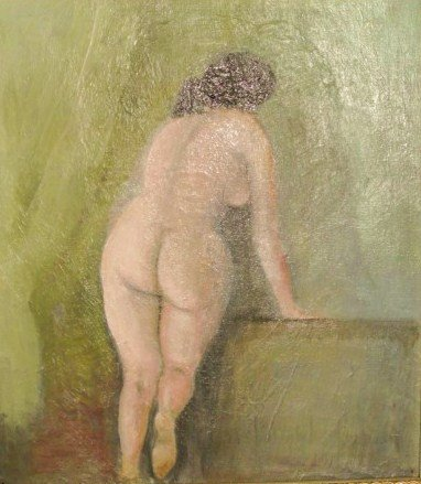 Oil Painting, Woman Entering Her Bath, Circa 1900
