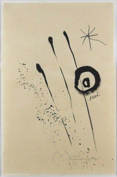 Joan Miro Ink Drawing On Handmade Paper