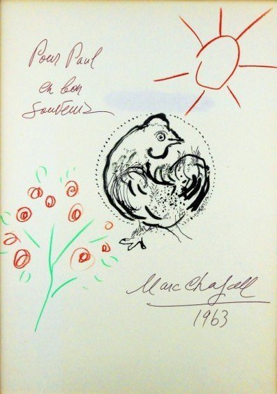 Marc Chagall (1887-1985) Book Page Drawing