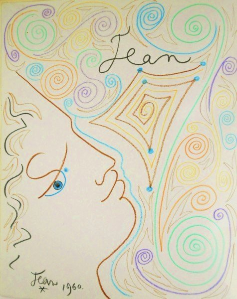 Jean Cocteau (1889-1963) Colored Pencil Drawing