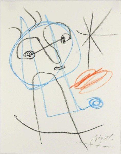 Joan Miro (1893-1983) Colored Crayon Drawing