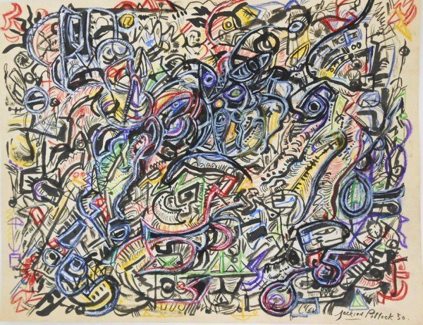 Jackson Pollock (1912-1956) Mixed Media Drawing
