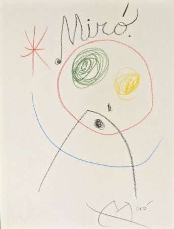 Joan Miro (1893-1983) Crayon Drawing