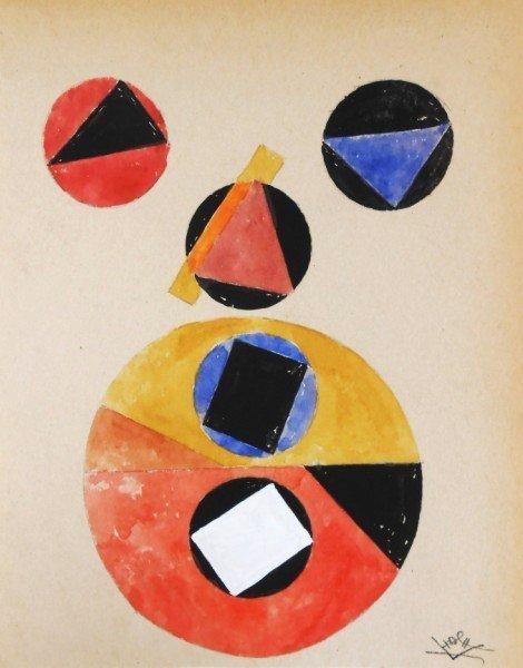 Russian Suprematist Watercolor, Monogrammed