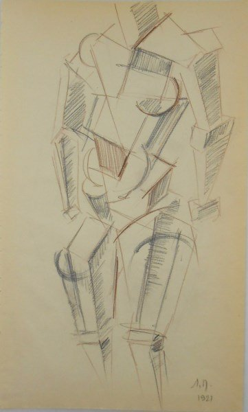 Russian Cubist Drawing, Dated 1921