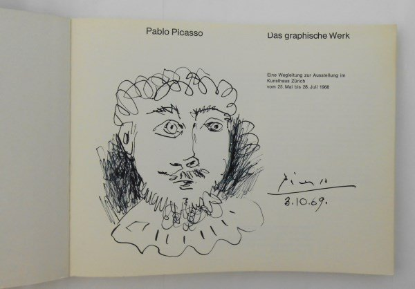 Picasso Signed Exhibition Catalog & Ink Sketch