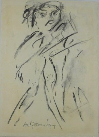 Willem De Kooning (1904-1997) Charcoal Drawing