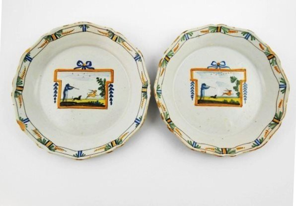 Two Antique French Faience Plates
