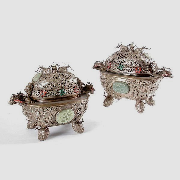 Fine Pair Of Silver-Clad Chinese Incense Vessels