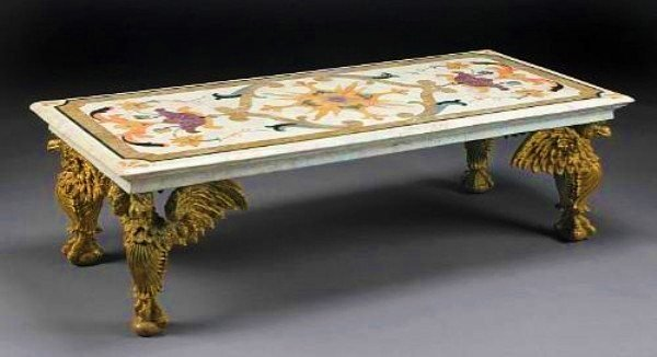 Baroque-Style Pietra Dura Coffee Table