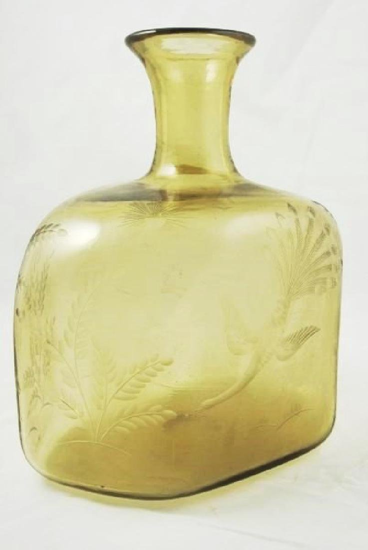 Etched Amber Glass Vase, Circa 1890
