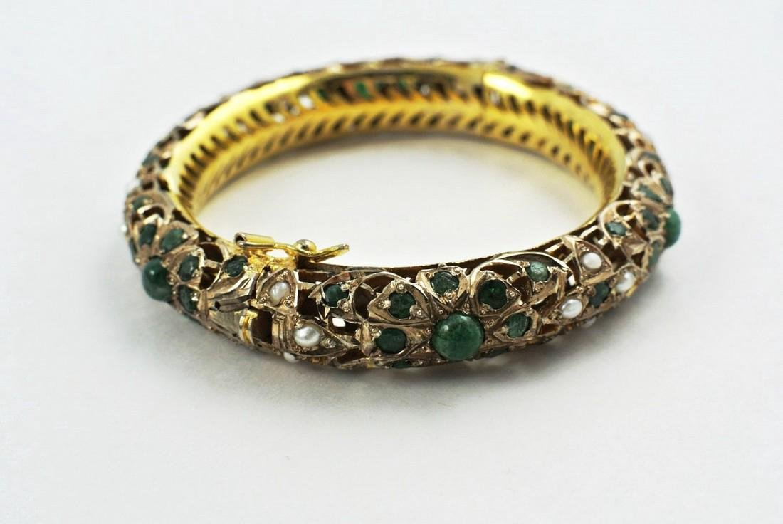 Indian Gold-Wash Bracelet With Emeralds