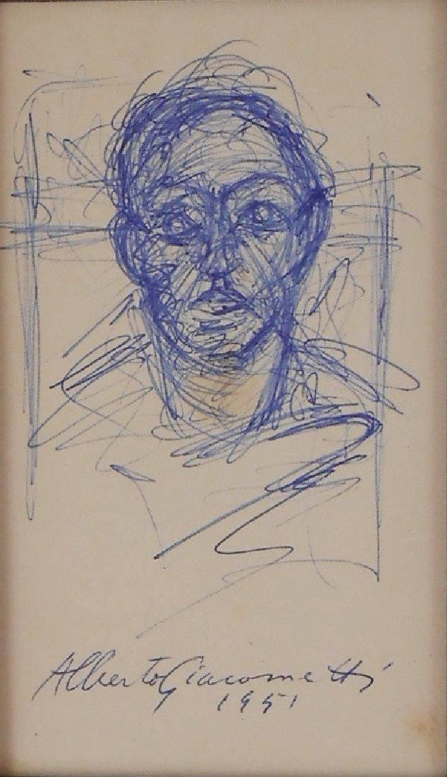 Alberto Giacometti (1901-1966) Blue Ink Sketch