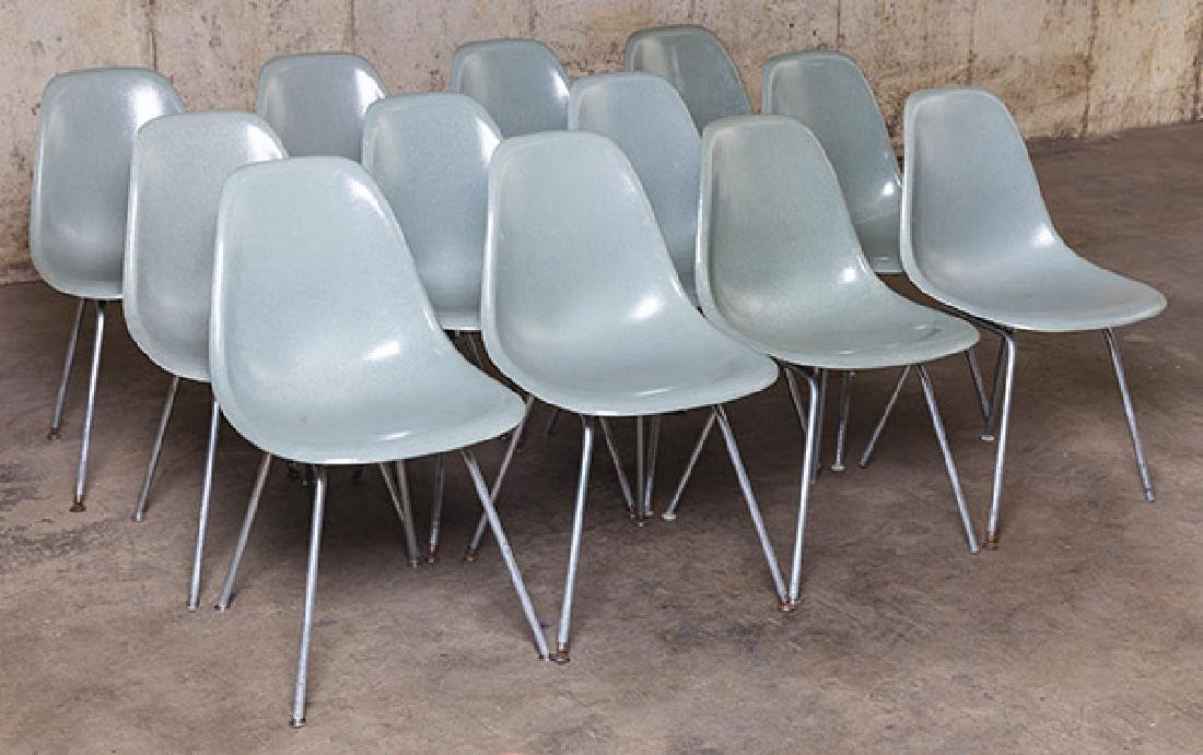 Charles and Ray Eames Seafoam Green Dining Chairs