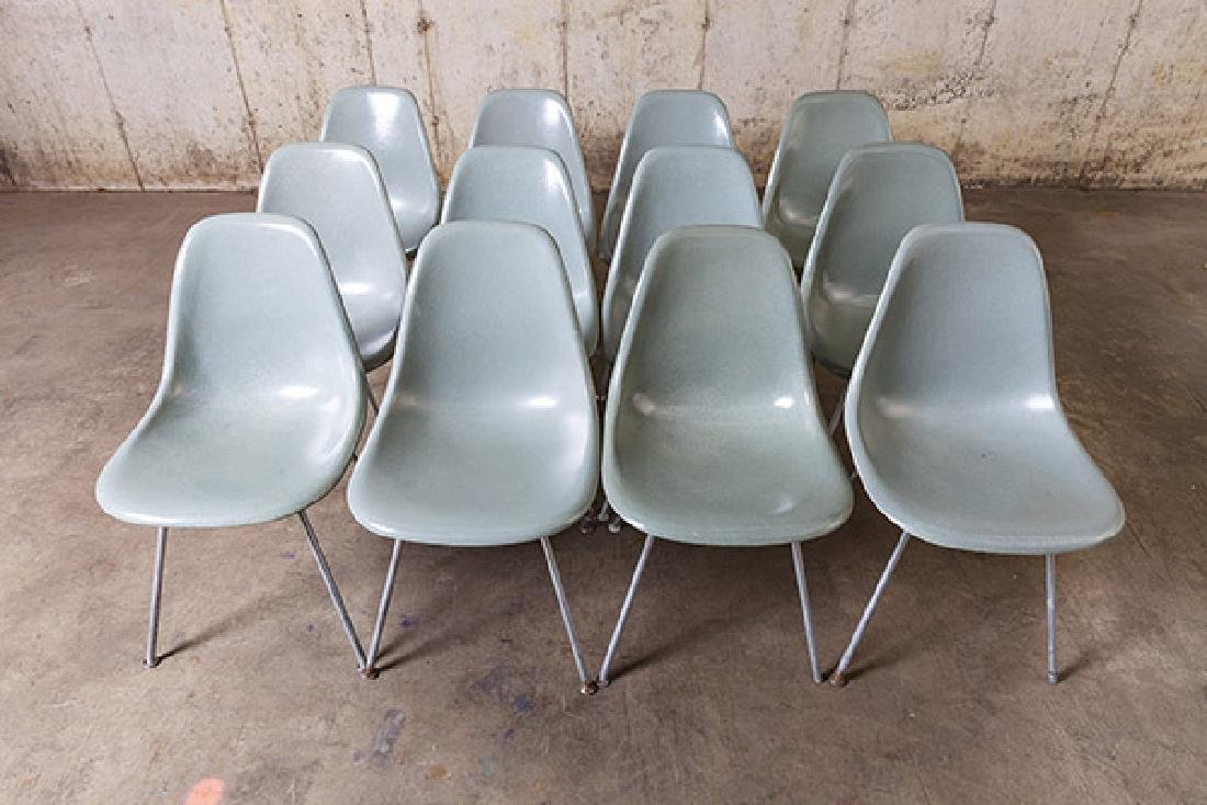 Charles and Ray Eames Seafoam Green Dining Chairs - 2