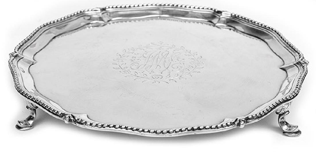 Queen Anne Sterling Footed Card Tray