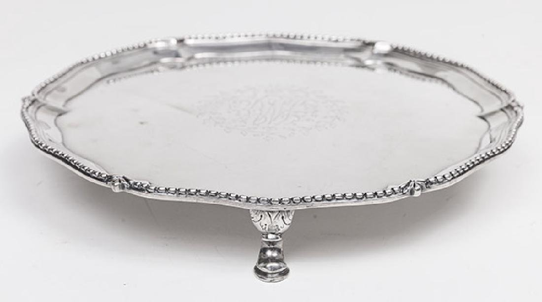 Queen Anne Sterling Footed Card Tray - 2