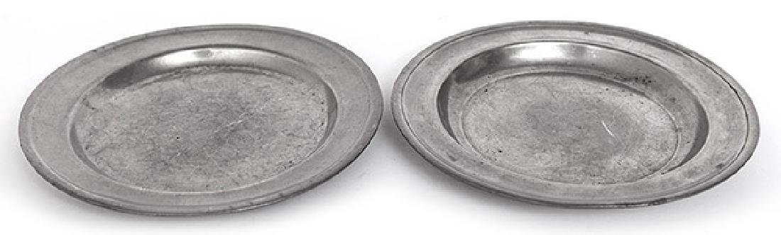 """Two American Pewter 6"""" Plates"""