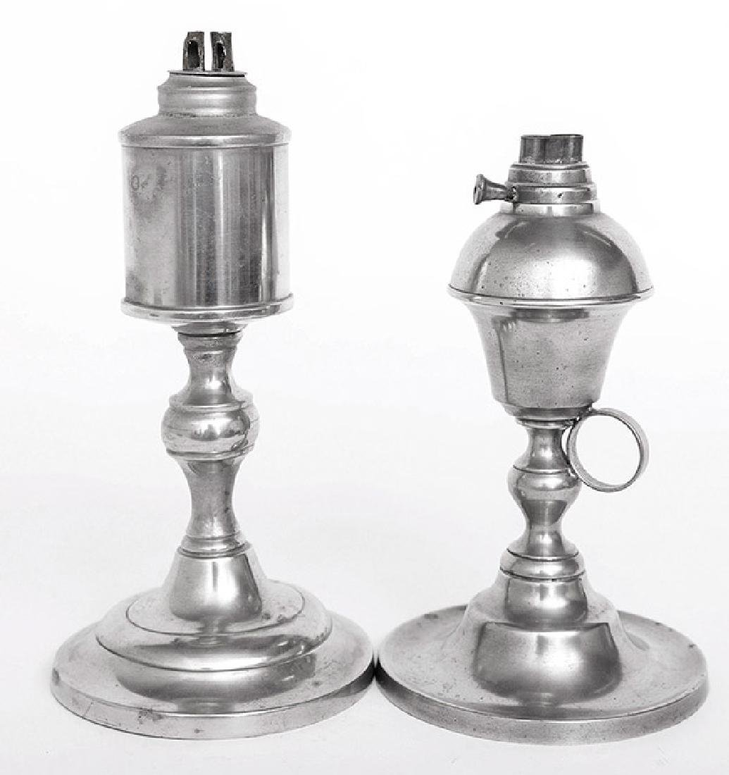 Two American Pewter Whale Oil Lamp