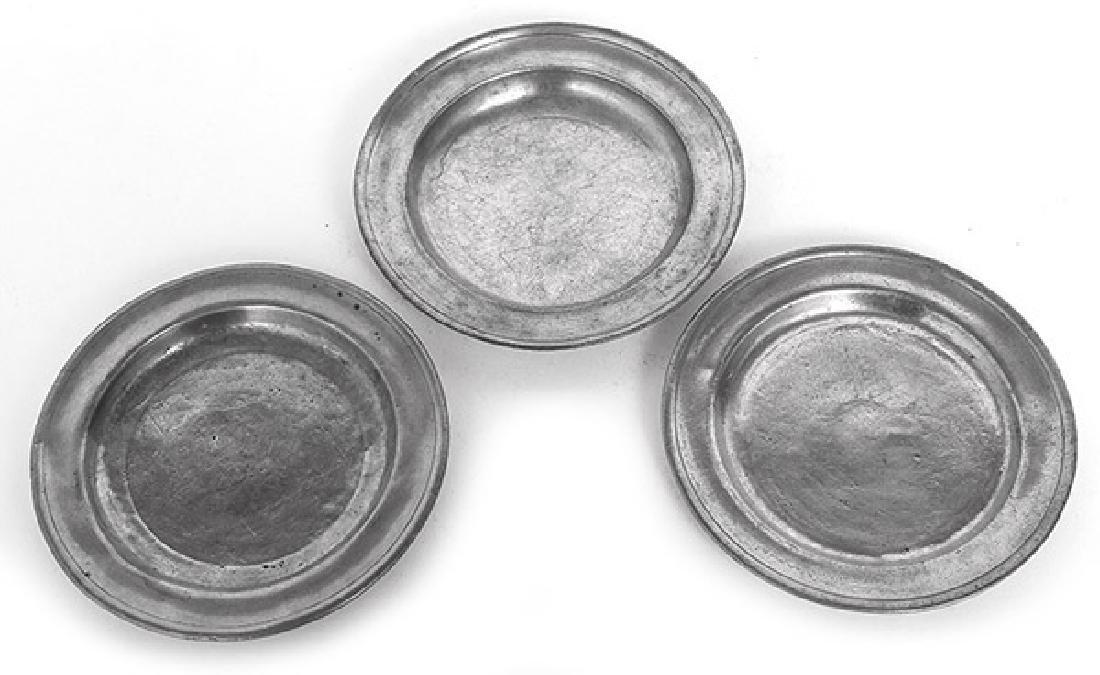 Three American Pewter Plates
