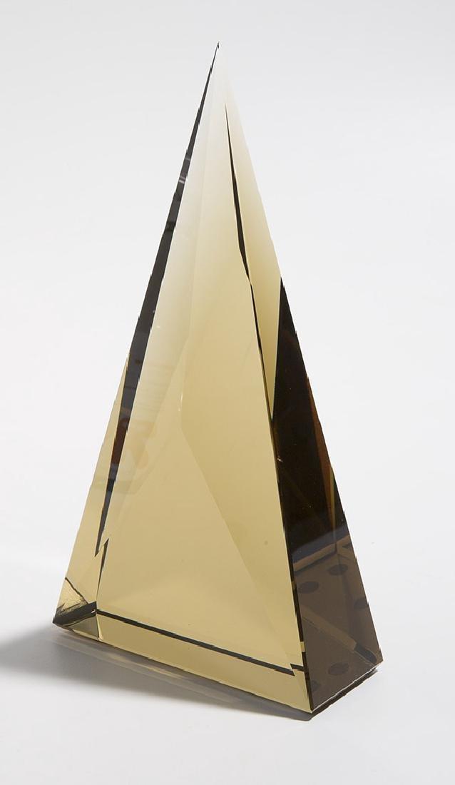 Art Glass Triangle Sculpture - 4