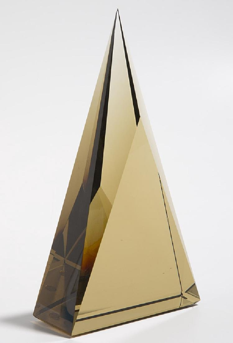 Art Glass Triangle Sculpture - 9