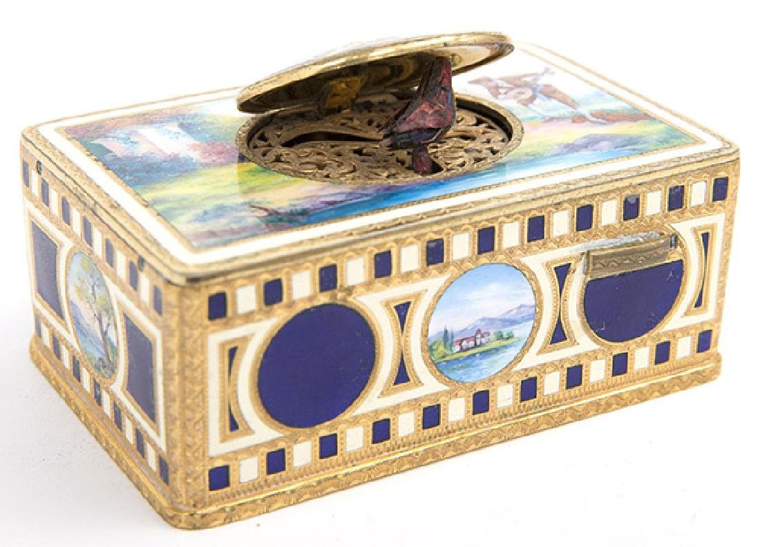 German Enameled And Gilt Metal Singing Bird Automation