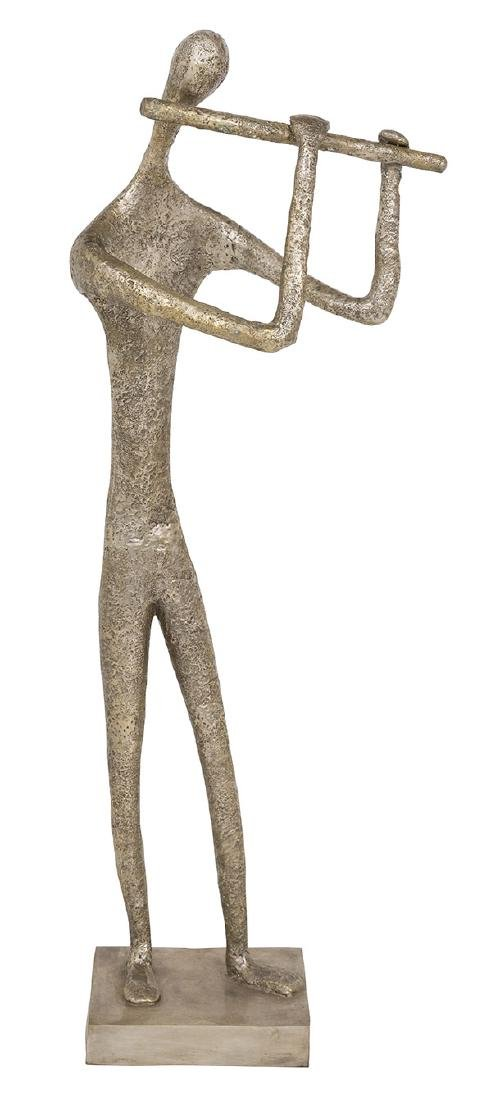 Monumental Bronze Flute Player