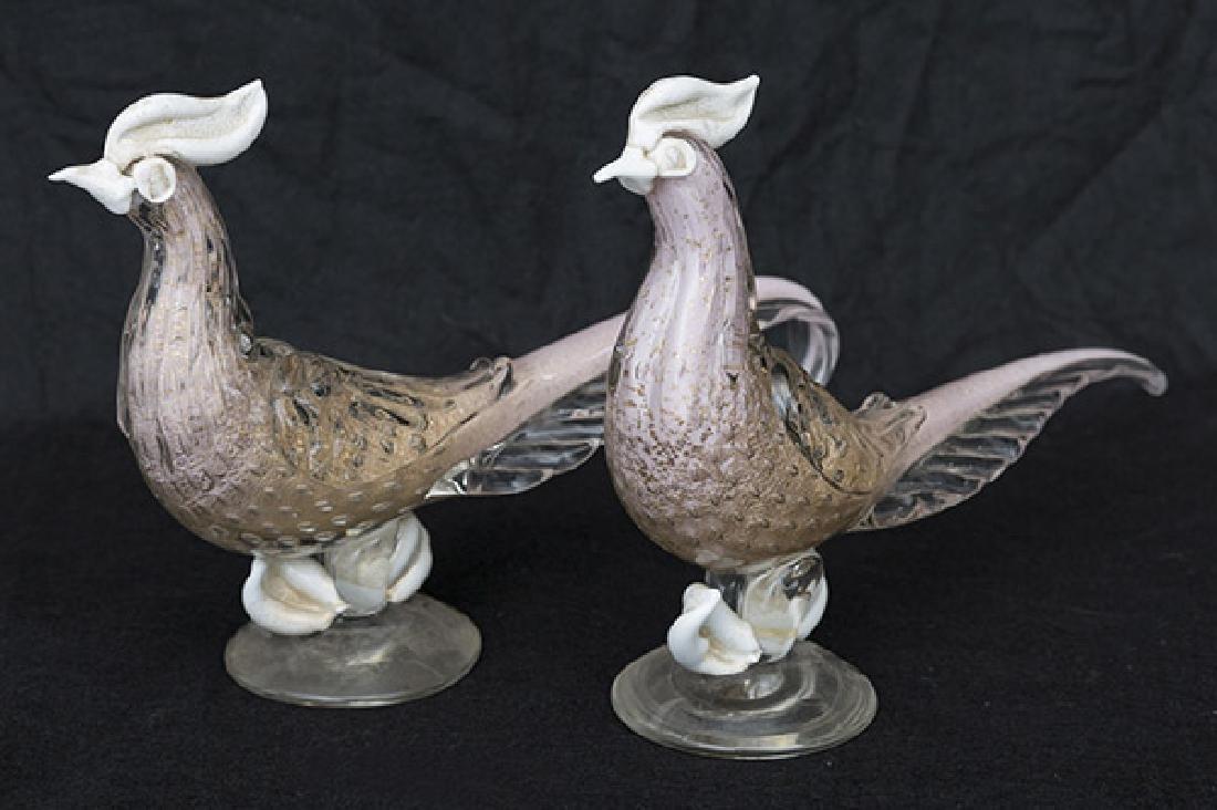 Alfredo Barbini Murano Sommerso Birds