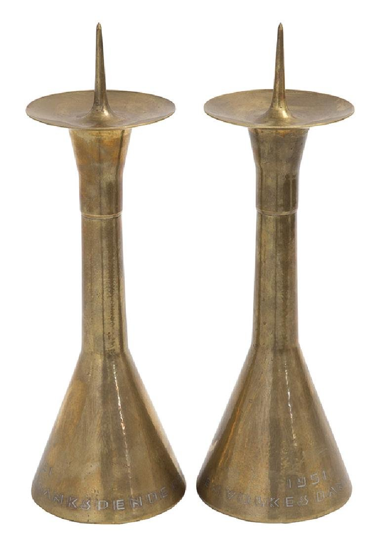 German Hand-Hammered Candlesticks