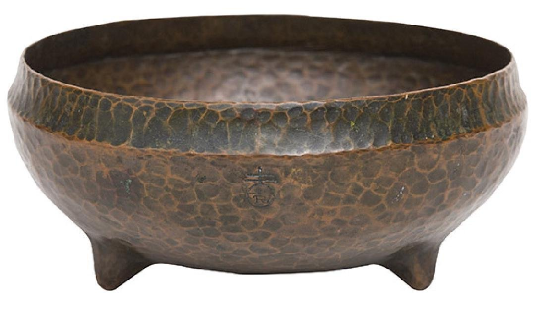 Roycroft Tri-Footed Hammered Copper Bowl