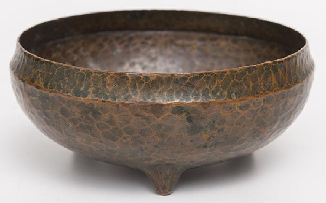 Roycroft Tri-Footed Hammered Copper Bowl - 3